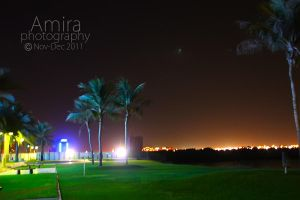 Ras al Khaimah at night near Manar mall by amirajuli