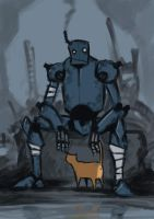 Old Bot with a Cat by LasloLF