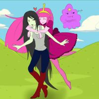 Glomp:Adventure Time:Marceline,Bubblegum, and LSP by Xx-Suigintou-xX