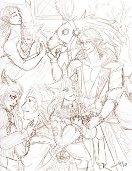 Sketch Page Ehfi and Eaubront by nickyflamingo