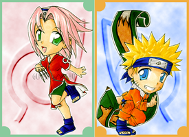 Naruto and Sakura chibis by GuardianYashu