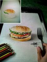 3d hamburger (by Arthur T. Cortez) by ATCdrawings