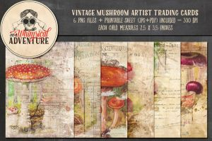 Vintage Mushroom ATC by Whimsical-Adventure