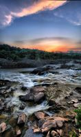 Great Falls Sunset Panorama 2 by CharlesWb