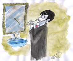 Barnabas brushing his Fangs by DemonCartoonist