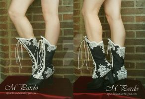 Black damask spats with white lace by arcticorset