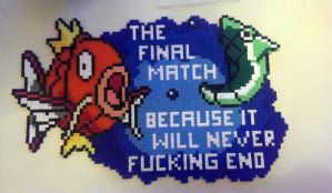 final match - magikarp vs metapod - perler by staubtaenzerin