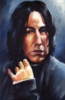 Rickman as Snape by sullen-skrewt