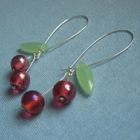 Long Cherry earrings in pink by Mimi-Mushroom