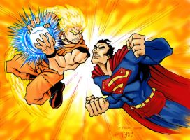 supeman vs goku colored by mistermoster