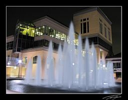 U of M fountains at night by electricjonny