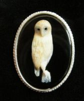 Onyx and silver owl brooch by AnyaStone