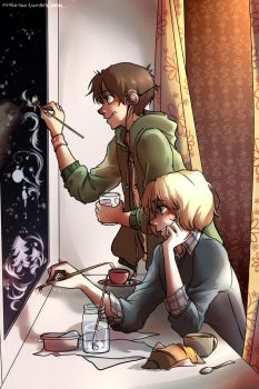 Comission for Linked-Memories! - Painting windows by Mioko-san