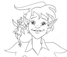 Peter Pan and Tinkerbell by PookieArt