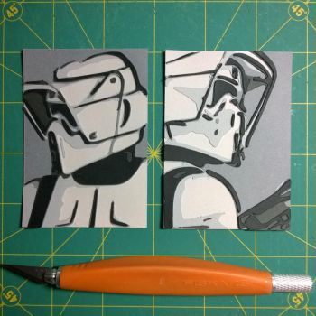 Scout Trooper Sketch cards by Papergizmo