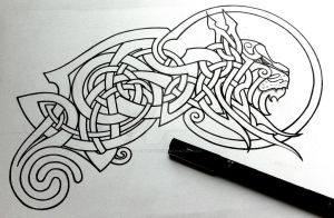 Celtic Lynx linework by Tattoo-Design