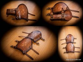 Leather Arm Bracers with a celtic pattern. by DorianPipes