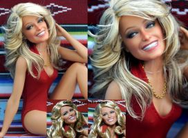 Farrah Fawcett Charlie's Angels custom doll art by noeling