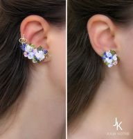 Floral ear cuff and stud Garden in Provence by JSjewelry
