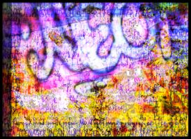 Nonsens Text and Graffiti in colorful Pattern by MushroomBrain