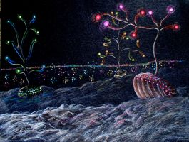 Glowing Undersea Clams by Sontine