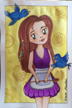 girl with birds by Mooniilla