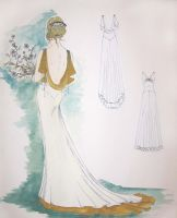 Wedding gown fashion sketch by janey-jane