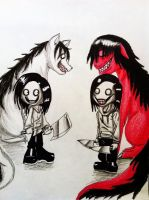 Collab: Jeff The Killer and SmileDog by XxLevanaxX