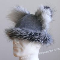 Wolf hat with furred ears by Mystic-Creatures