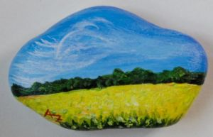 Colzafield - rock painting by Annamoon77