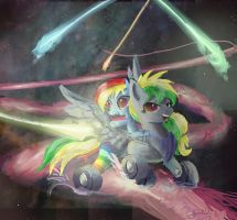 Wheely Bopper and RainbowDash by SuperRobotRainbowOwl