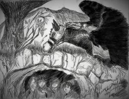 Ring Wraith and Hobbits in pure black and white by johnfboslet2001