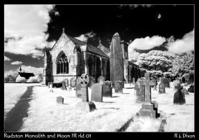 Rudston Monolith and Moon IR rld 01 by richardldixon