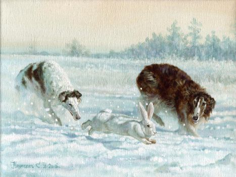 in pursuit of the hare by Animal75Artist