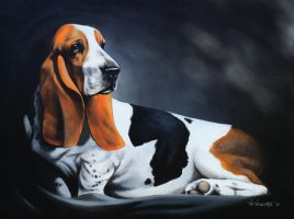 "Basset Hound ""original acrylic on canvas&quot by vicvill"