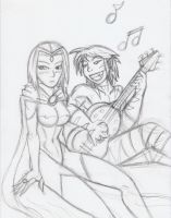Raven and Beastboy Song Sketch by Razmere