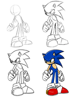 How I draw Sonic on Photoshop by Protocol00