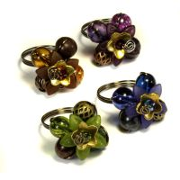 4 Flower rings bundle -Blue Brown Purple and Green by CatherinetteRings