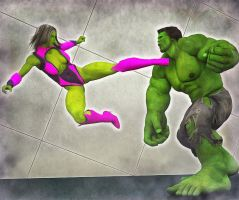 She Hulk vs Hulk by hiram67