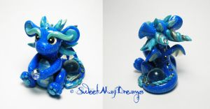 Blue Sky Sparkle Dragon by SweetMayDreams