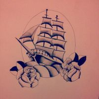 Black and White Ship Painting by Ancora-Kimberley