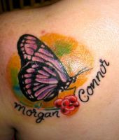 small butterfly tattoo by thirteen7s