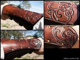 Renaissance Style Bracers - Dark Brown Version by Adhras