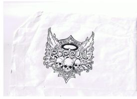 Pop Evil logo in pen and ink by cupcakesex2452