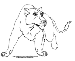 Lioness Line Art 2 by DragonHeartLuver