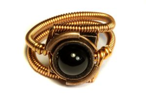 Steampunk Ring with Black Onyx and Copper by CatherinetteRings