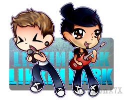Chibi Chester Bennington and Mike Shinoda by DragonA7X