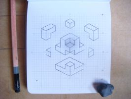 tres-d | sketch - abstract form / exploding cube by nintentofu