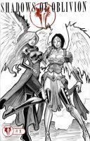 One Sketch 47: Shaelynn and WarAngel by Shono
