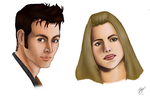 Tenth Doctor + Rose Tyler Practice Sketch by Tennyo-night-elf